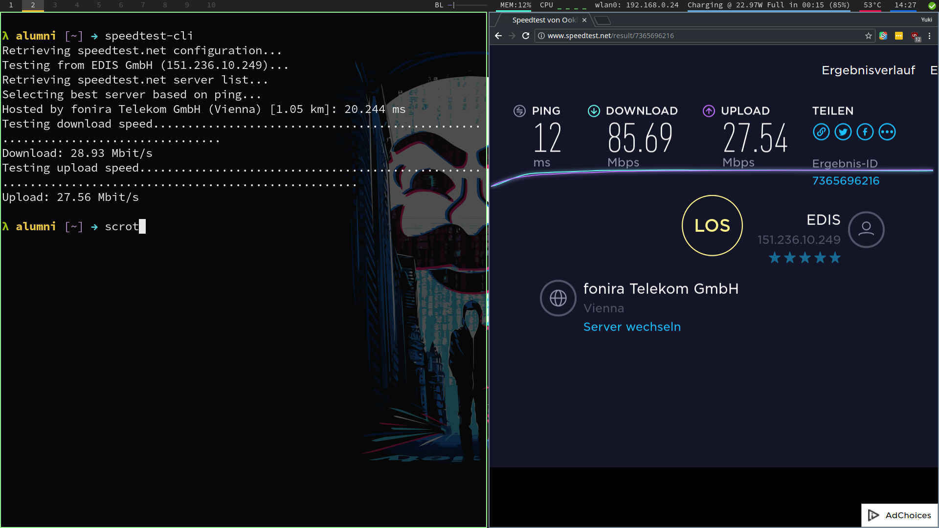 Internet Very Fast on Browser but very slow in command line