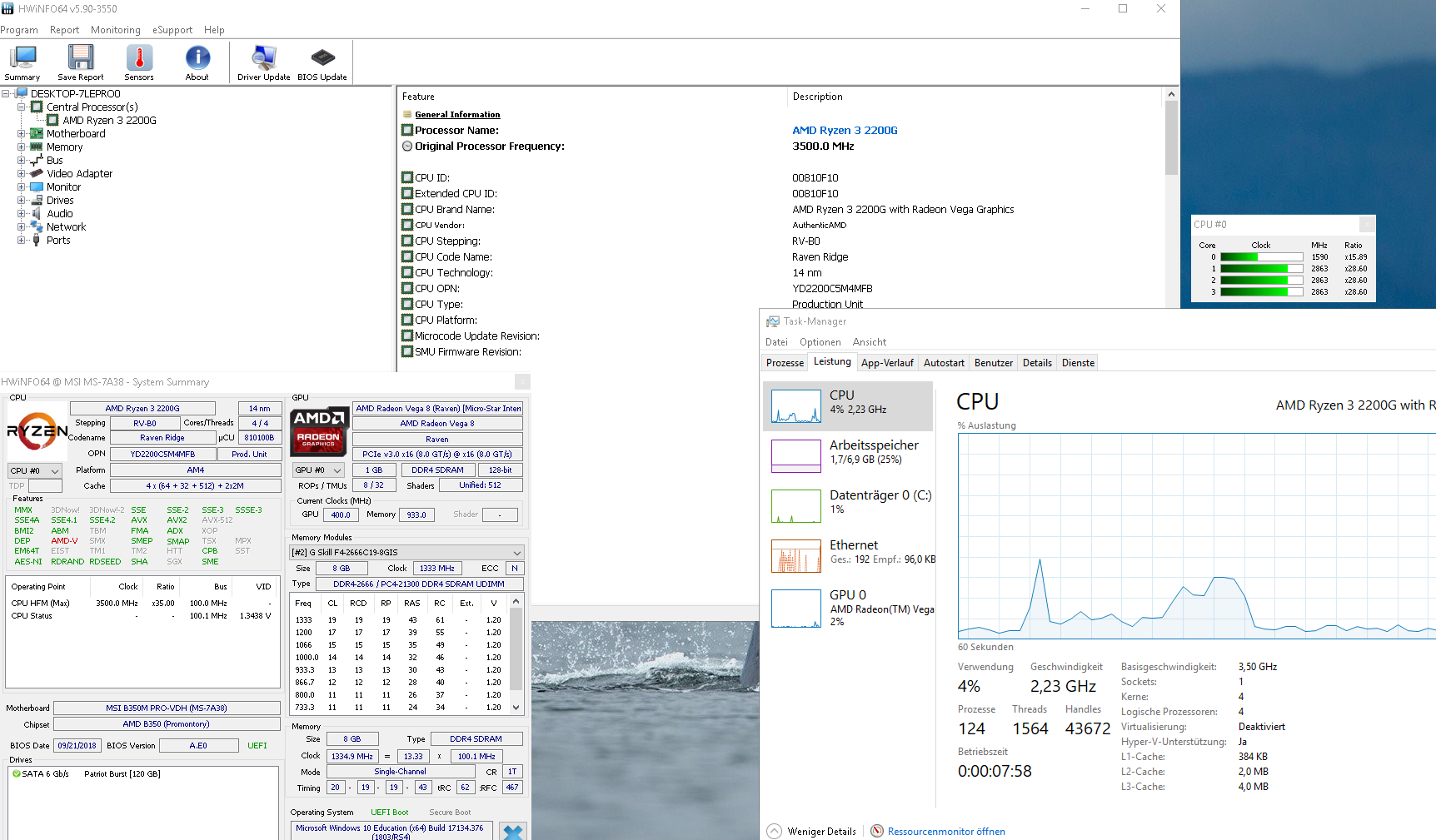 SOLVED] - Windows 10 Task-Manager Ryzen 3 2200G Base Clock is too