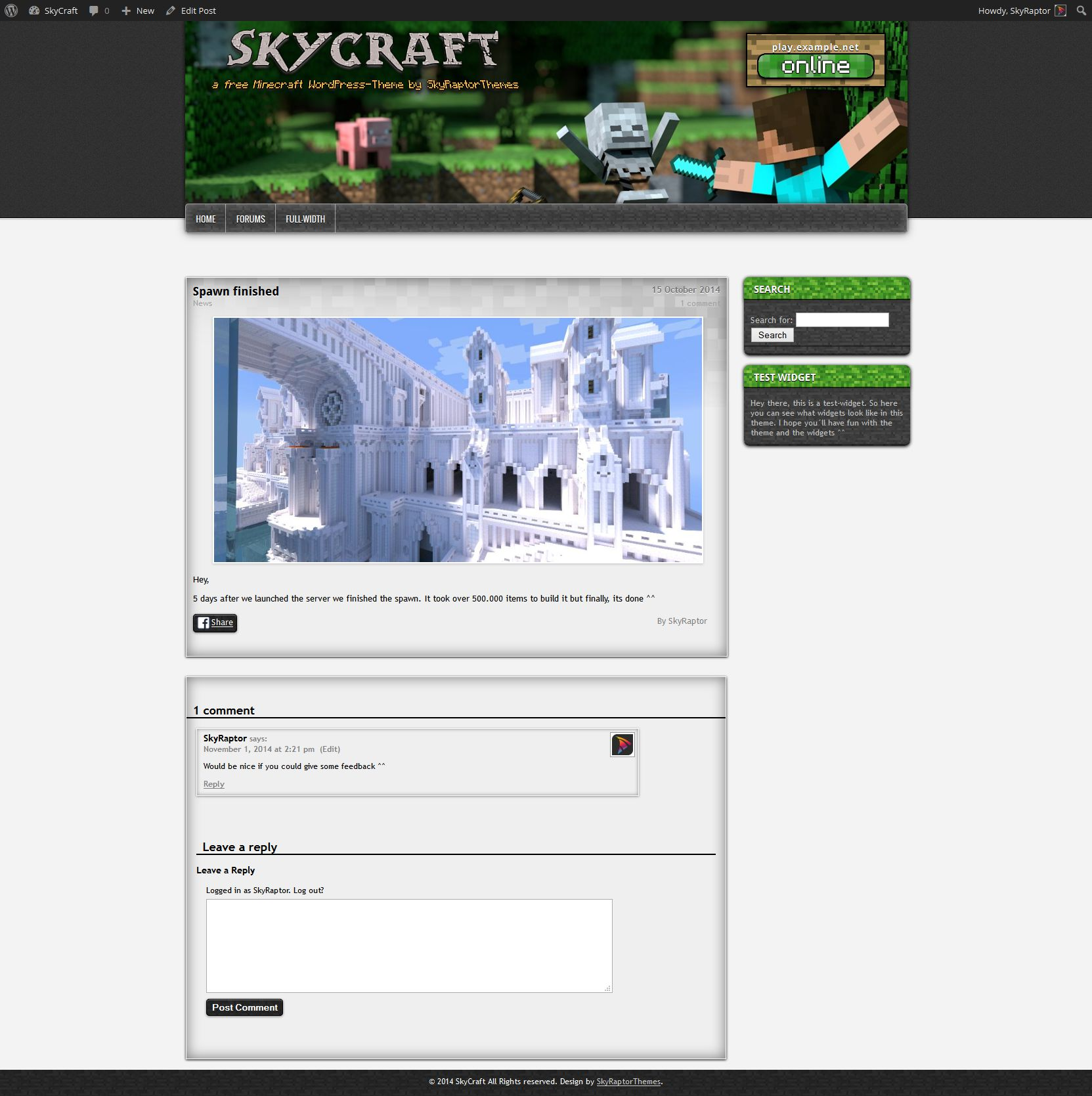 minecraft wordpress theme