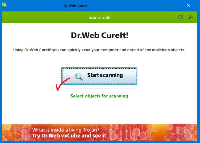 أحدث إصدار من أداة فحص الجهاز من البرامج الضارة  Dr.WEB CureIt! portable JKo6bab.png
