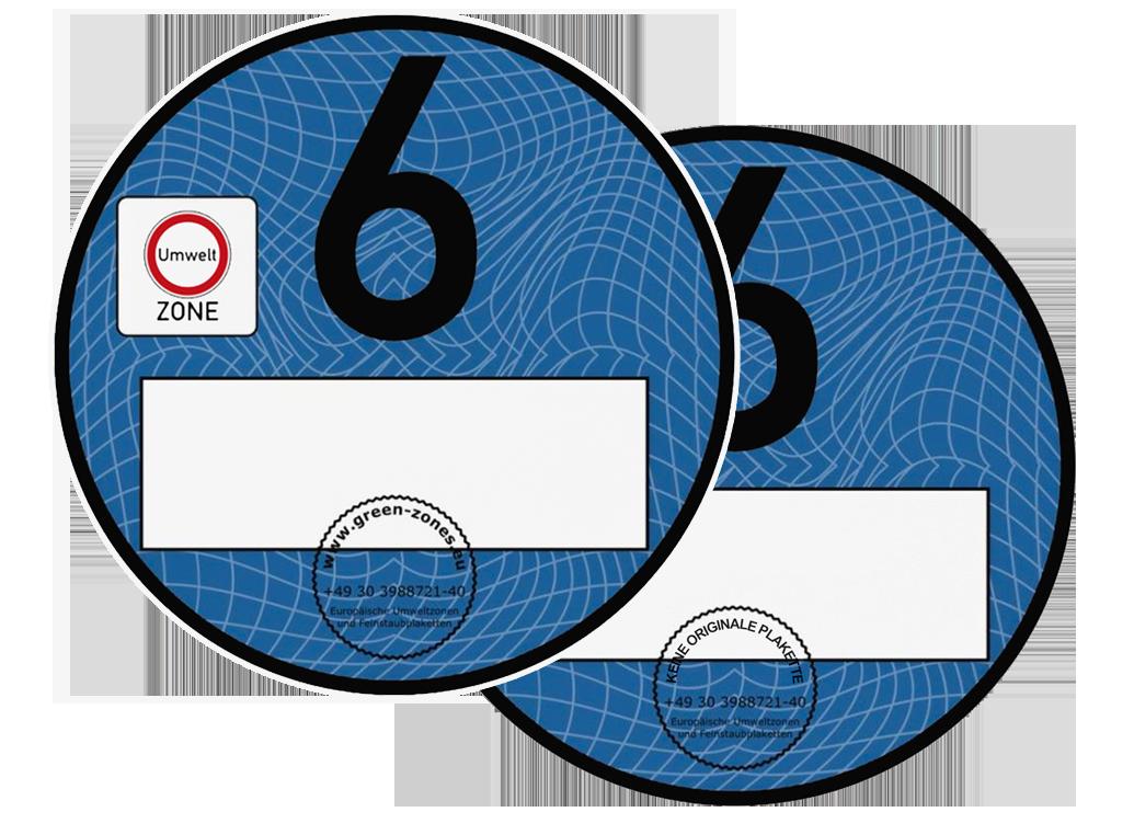 umweltplakette euro 6 blau spa artikel doppel set. Black Bedroom Furniture Sets. Home Design Ideas